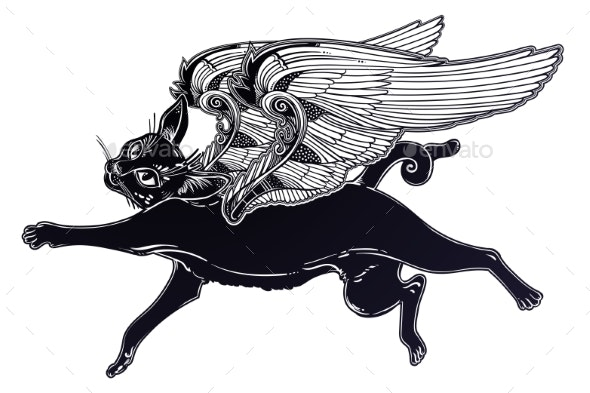 Black Cat with Angel Wings - Animals Characters