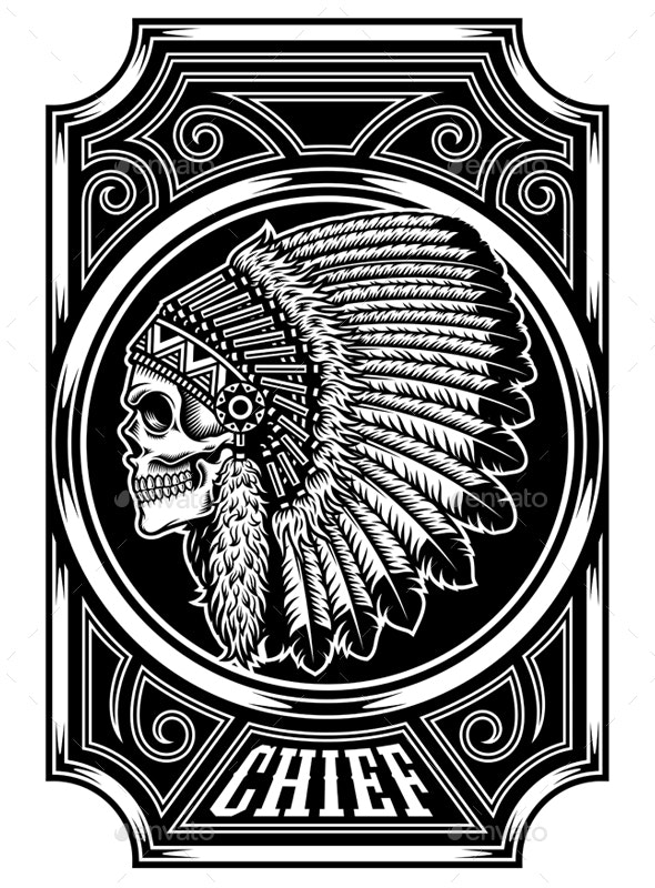 Native American Indian Chief Skull in Black and White - People Characters