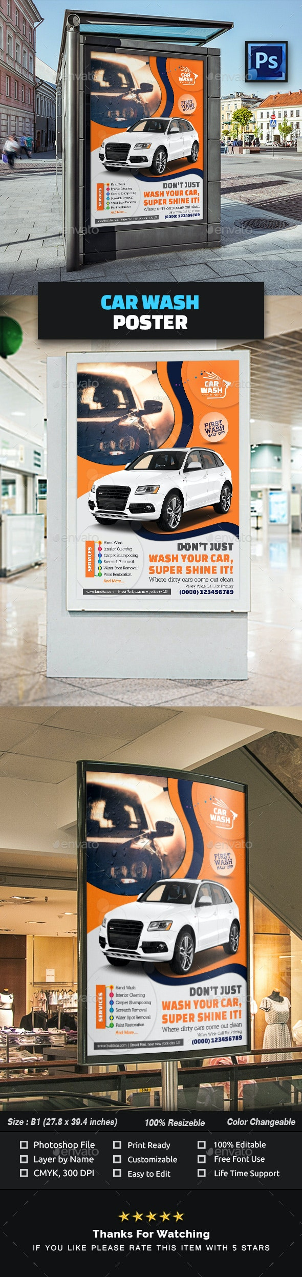 Car Wash Poster Template - Signage Print Templates