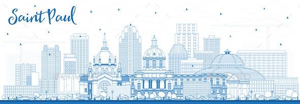 Outline Saint Paul Minnesota City Skyline with Blue Buildings - Buildings Objects