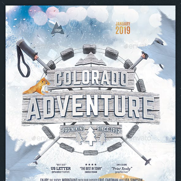 Winter Hiking Flyer Snowshoeing Poster Outdoor Template