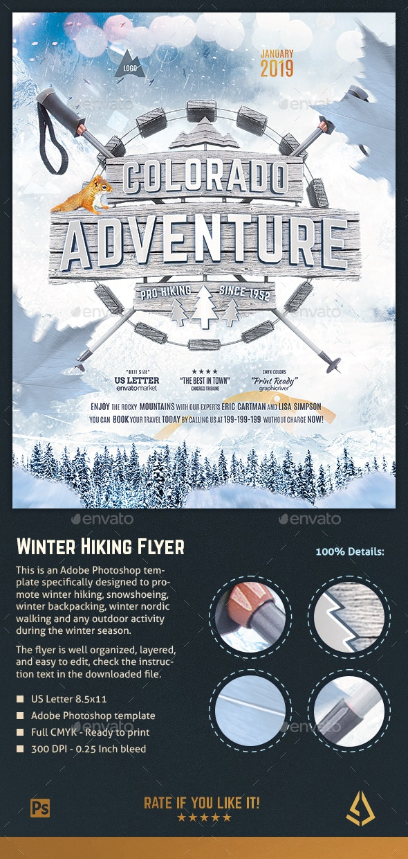 Winter Hiking Flyer Snowshoeing Poster Outdoor Template - Sports Events