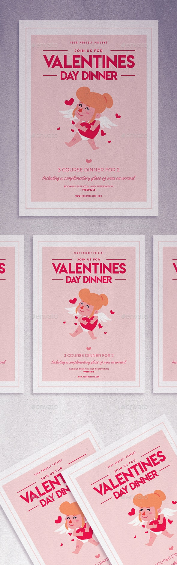 Valentines Day Dinner flyer - Brochures Print Templates