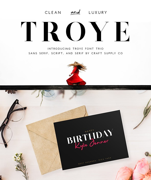 Troye Font Trio - Clean & Luxury - Serif Fonts