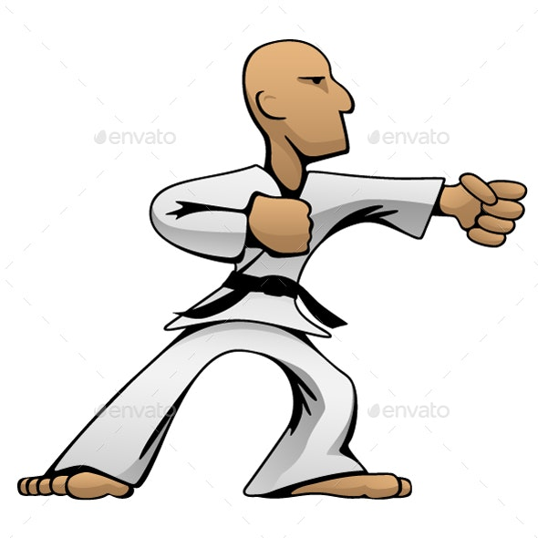 Martial Arts Karate Guy Cartoon Vector Illustration - People Characters