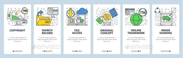 Web Site Onboarding Screens Files Access - Web Elements Vectors