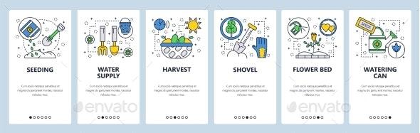 Web Site Onboarding Screens Garden Tools Icons - Web Elements Vectors