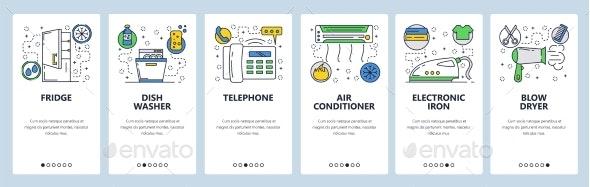 Web Site Onboarding Screens Home Appliances - Web Elements Vectors