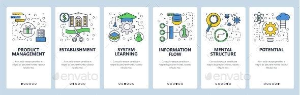 Web Site Onboarding Screens Learning Information - Web Elements Vectors