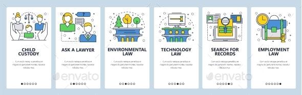 Web Site Onboarding Screens of Law - Web Elements Vectors