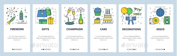Web Site Onboarding Screens Birthday Celebration - Web Elements Vectors