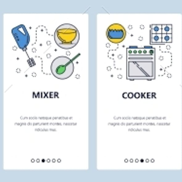 Web Site Onboarding Screens Kitchen and Cooking