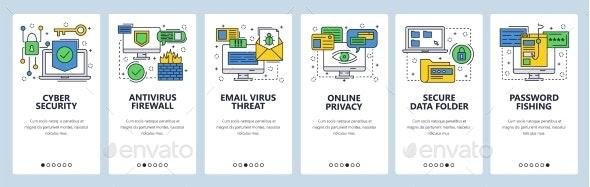 Web Site Onboarding Screens Cyber Security - Web Elements Vectors