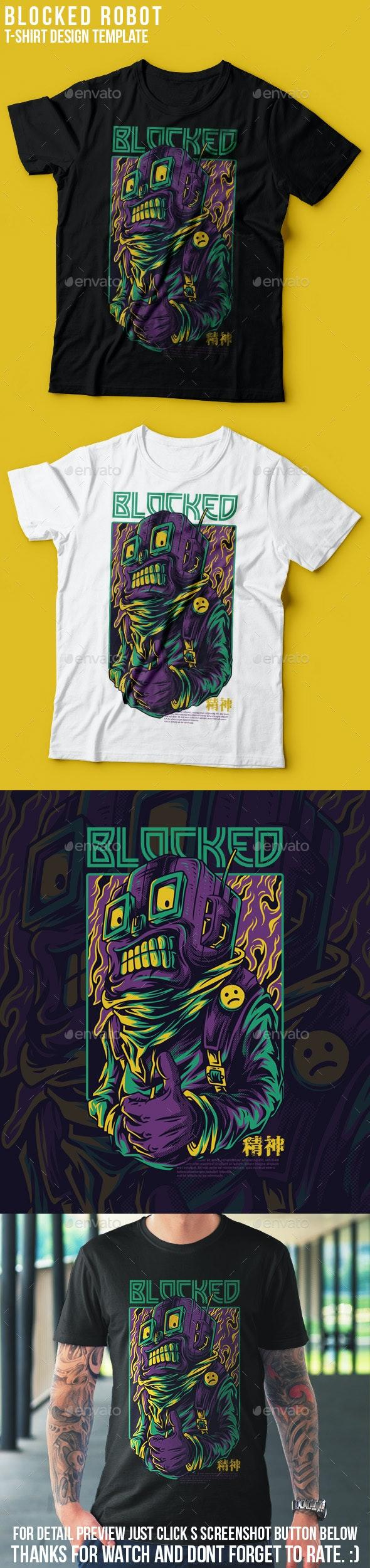 Blocked Robot T-Shirt Design - Grunge Designs
