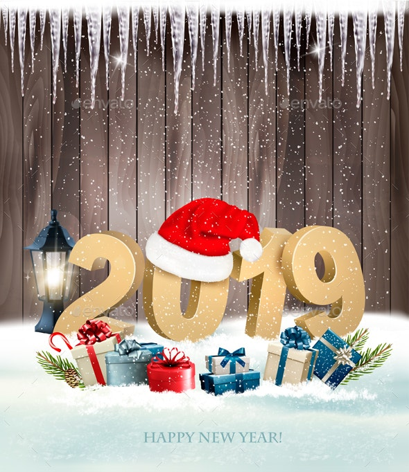 Happy New Year 2019 Background With Presents and Santa Hat. Vector. - Christmas Seasons/Holidays