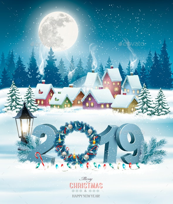 Holiday Christmas Background.Holiday Christmas Background With 2019 And Winter Village