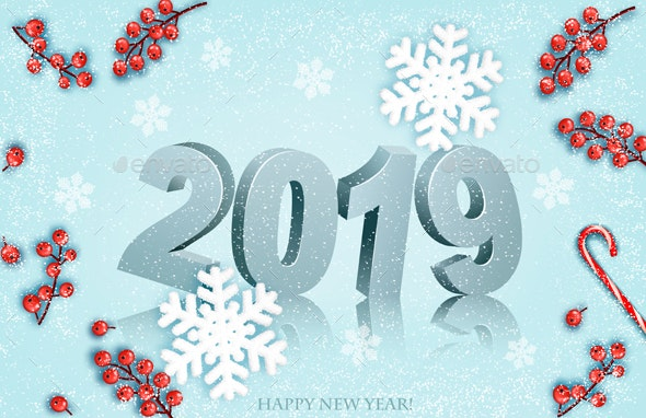 Happy New Year 2019 Background With Snowflakes - New Year Seasons/Holidays