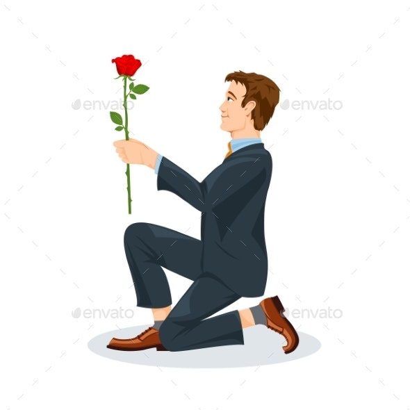 Man Kneeling with a Flower in His Hand - People Characters