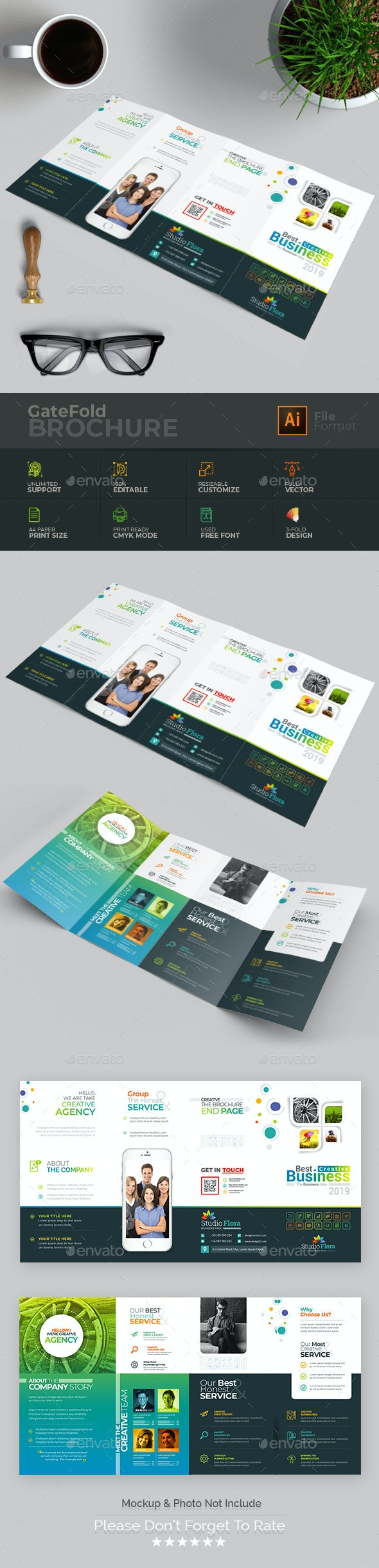 Double Gate-Fold Brochure - Brochures Print Templates