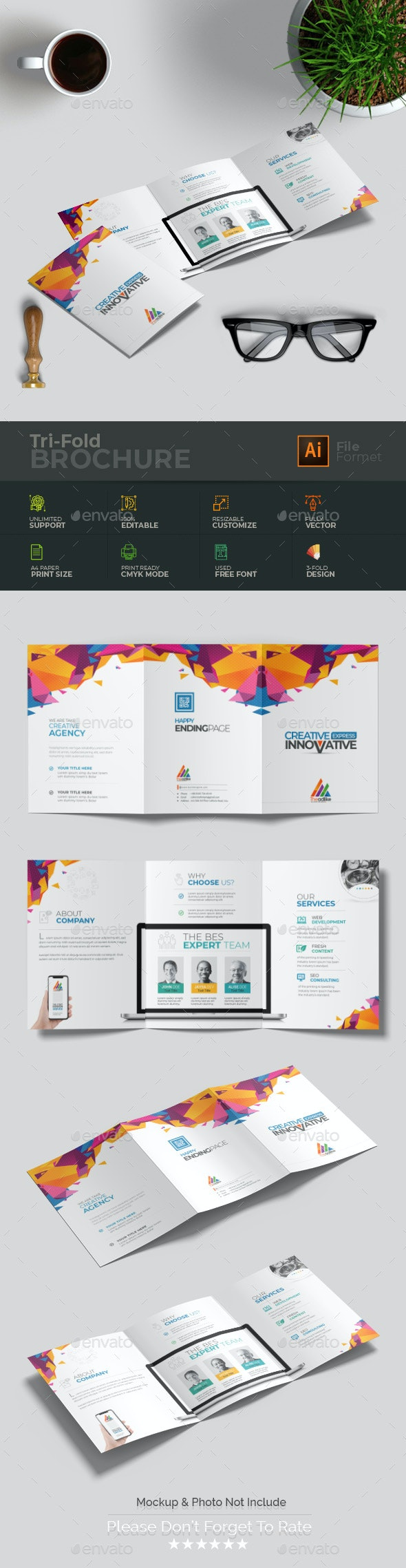 Horizontal Tri-fold - Brochures Print Templates