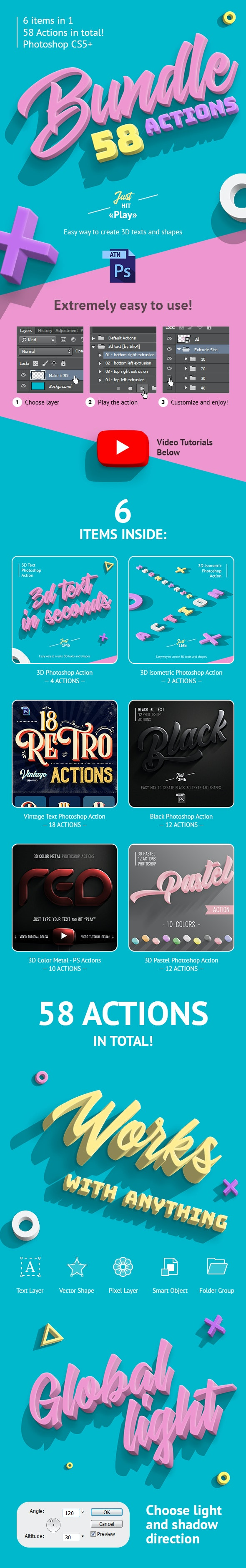 3D Bundle - Photoshop Actions - Text Effects Actions