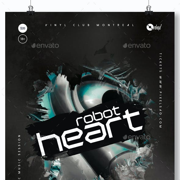Robot Heart - Progressive Party Flyer / Poster Template A3