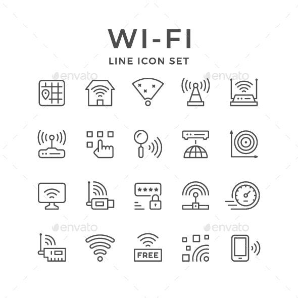 Set line icons of Wi-Fi - Man-made objects Objects