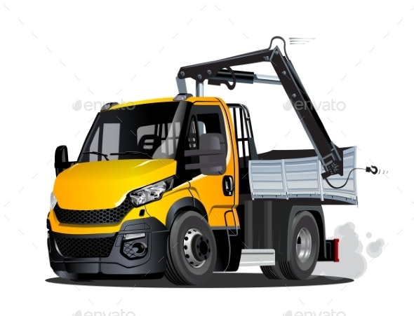 Vector Cartoon LKW Truck with Crane Isolated - Man-made Objects Objects