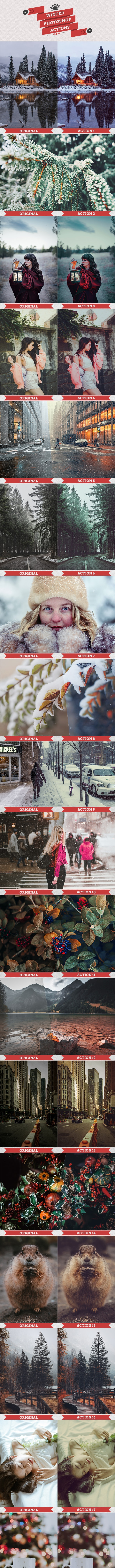 25 Winter Photoshop Actions - Photo Effects Actions