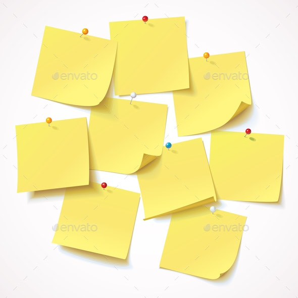 Yellow Stickers Pinned - Backgrounds Decorative
