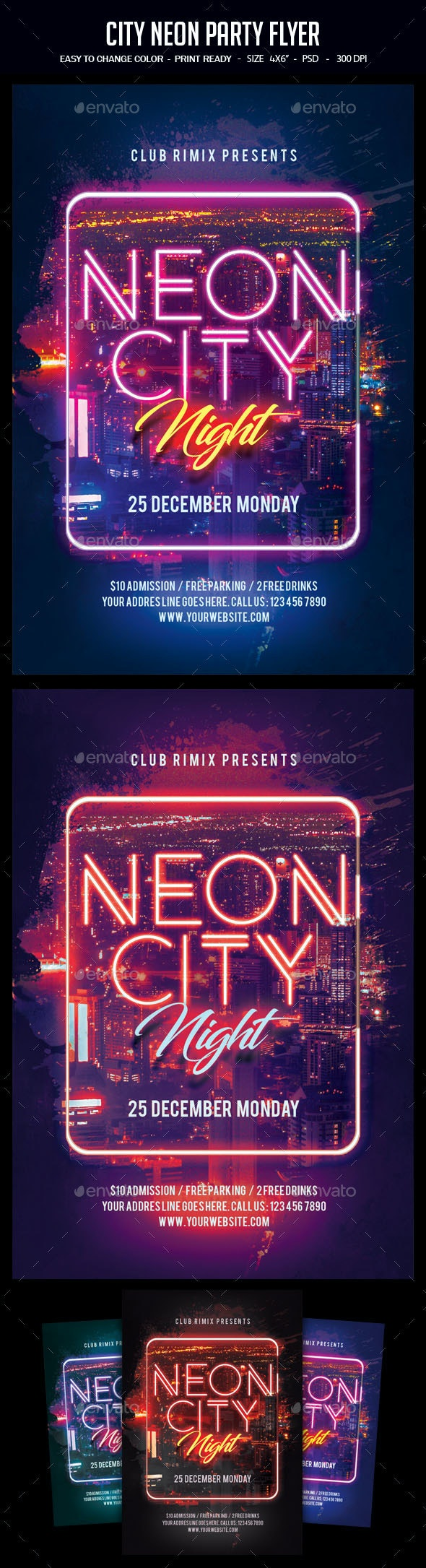 City Neon Party Flyer - Clubs & Parties Events