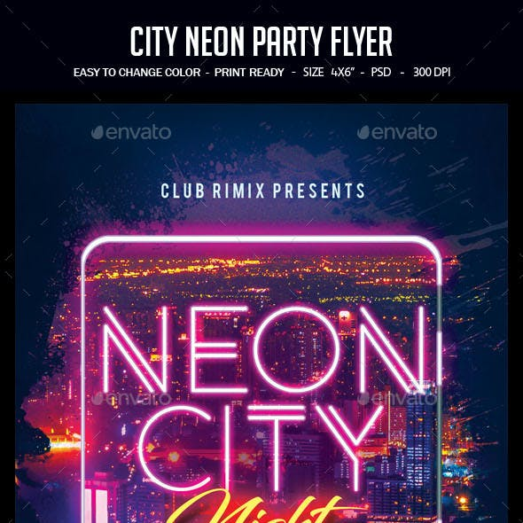 City Neon Party Flyer