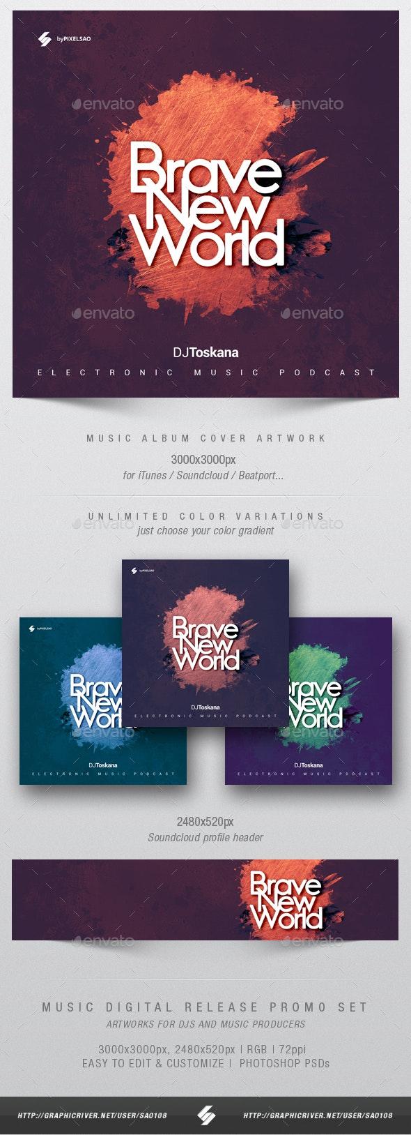 Brave New World - Music Album Cover Artwork Template - Miscellaneous Social Media