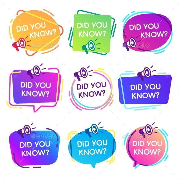Did You Know Labels - Miscellaneous Vectors