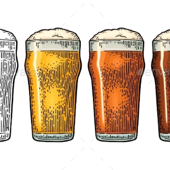 Glass with Three Types of Beer