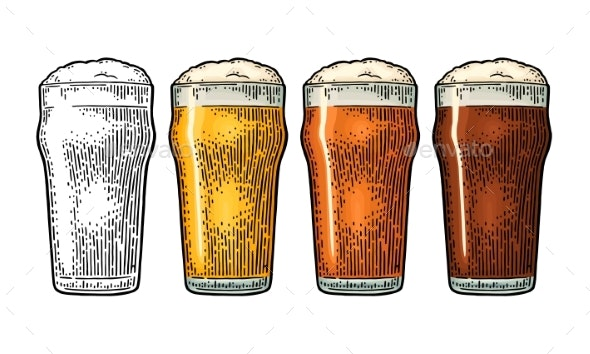 Glass with Three Types of Beer - Food Objects