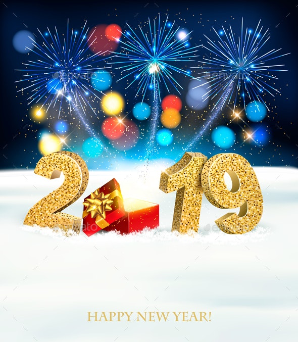 Holiday New Year Background With Fireworks - New Year Seasons/Holidays