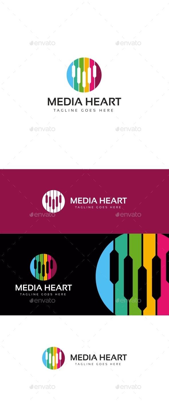Media Heart Logo - Symbols Logo Templates