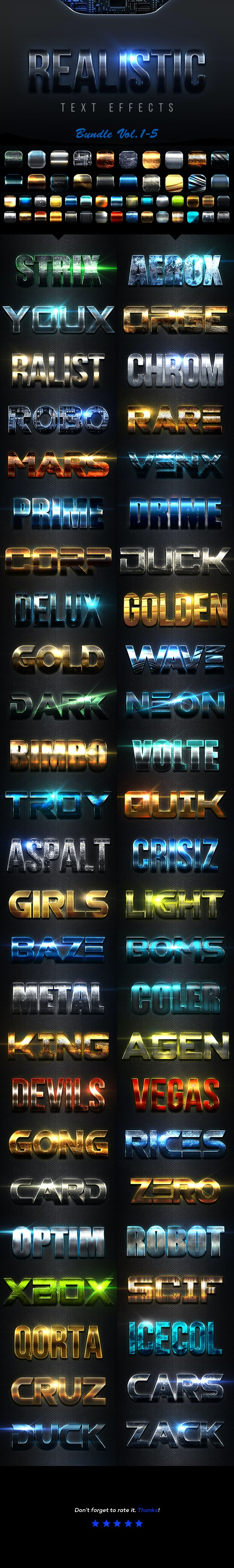 Realistic Text Effects Bundle I - Text Effects Styles