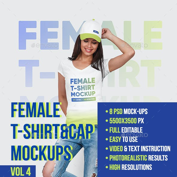 Female T-Shirt and Baseball Cap Mockup Vol4