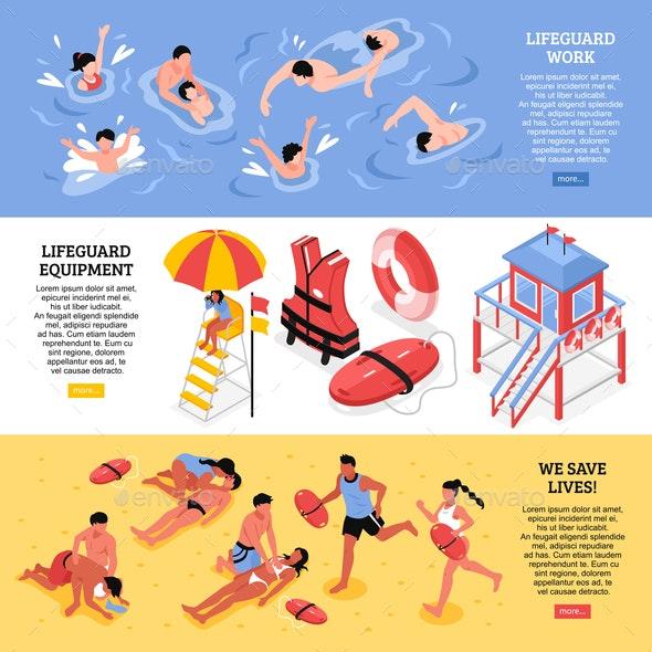 Beach Lifeguards Horizontal Banners - Miscellaneous Conceptual