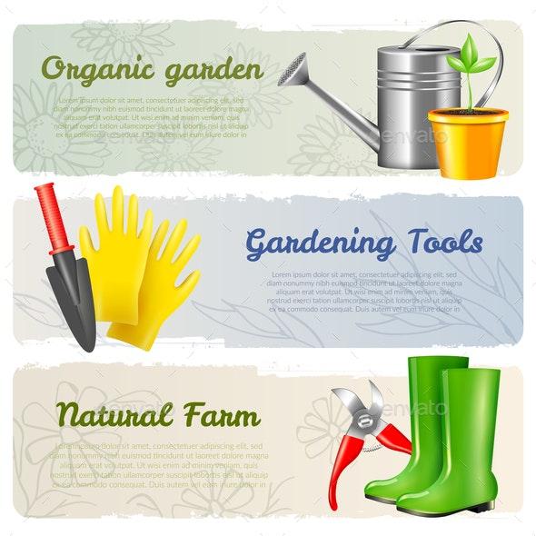 Gardening Horizontal Banners Set - Miscellaneous Vectors