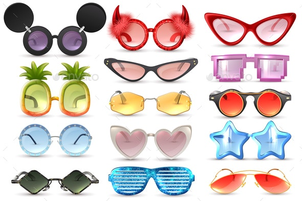 Carnival Glasses Realistic Set - Man-made Objects Objects