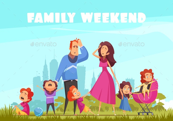 Family Weekend Colored Background - People Characters