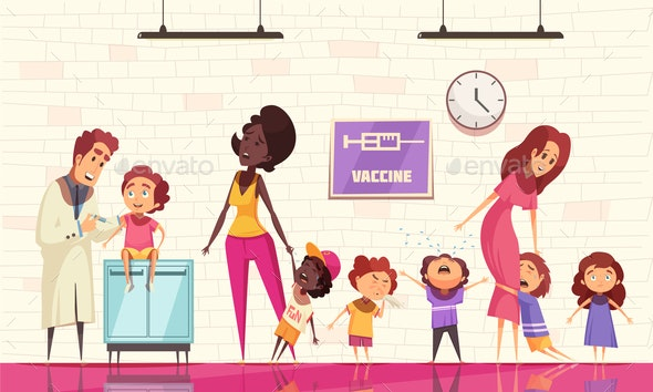 Kids Vaccine Vector Illustration - Health/Medicine Conceptual