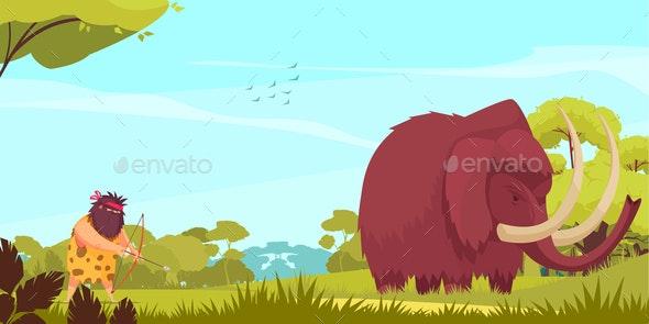 Mammoth Hunt Cartoon Poster - Miscellaneous Vectors
