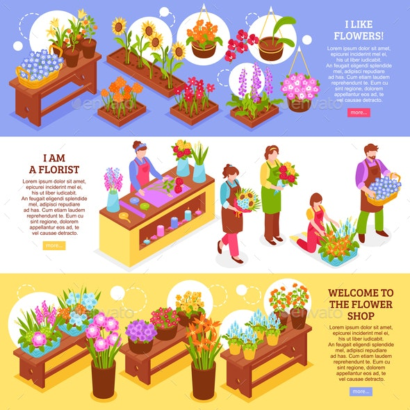 Florist Horizontal Banners Collection - Flowers & Plants Nature