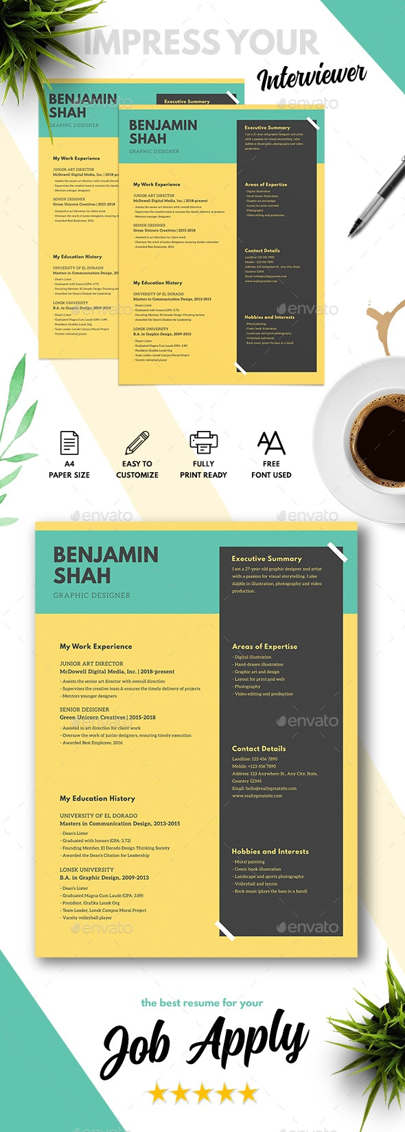 Minimalist CV - Resumes Stationery