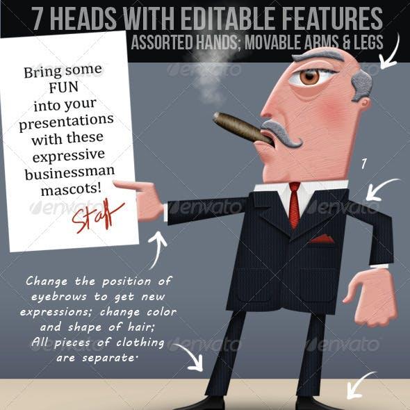 Business Man; Editable Illustrated Cartoon