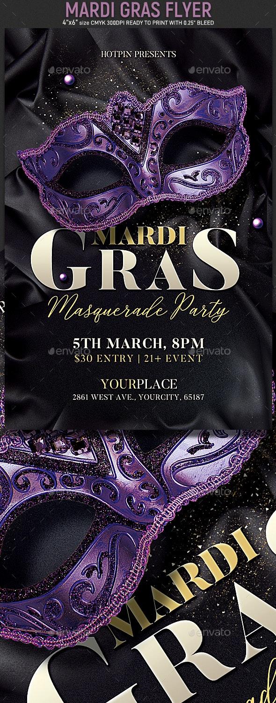 Mardi Gras Flyer Invitation - Clubs & Parties Events